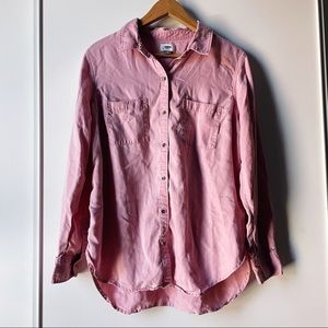 Old Navy pink long sleeve button down shirt large